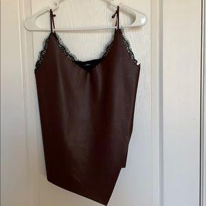 Zara asymmetrical faux leather tank top